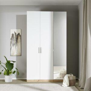 Skříň S Dveřmi A Zrcadlem 136,7cm Unit, Bílá/dekor Dub